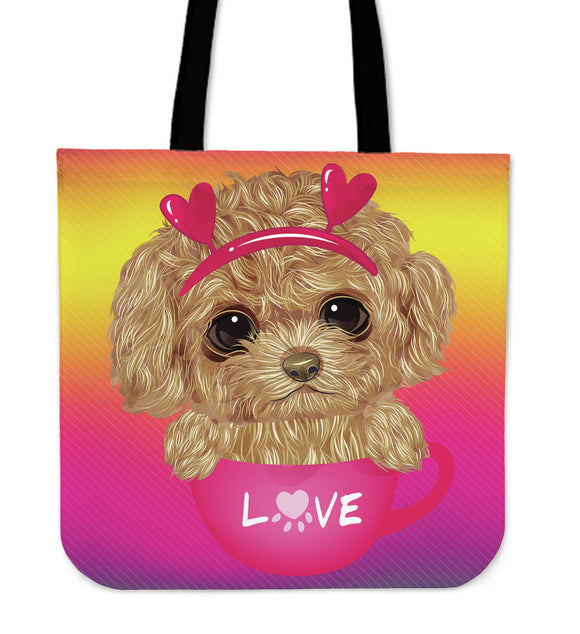 Cute Sweet Little Puppy Cloth Tote Bag