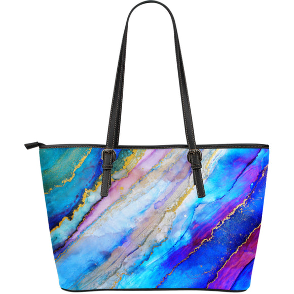 Fuchsia Marble Love Large Leather Tote Bag