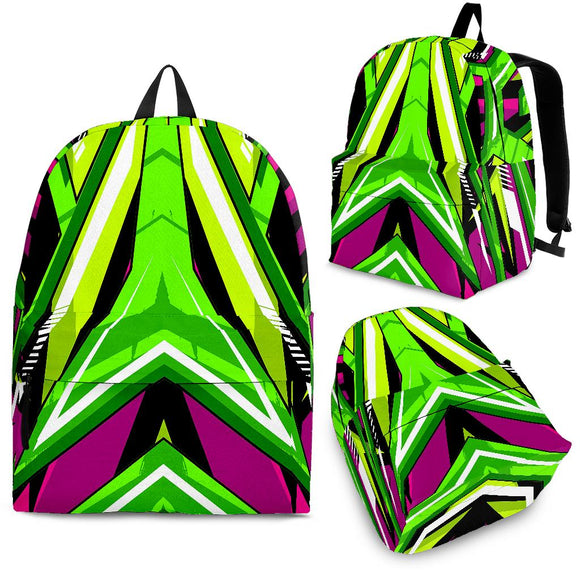 Racing Army Style Neon Green & Pink Vibes Backpack