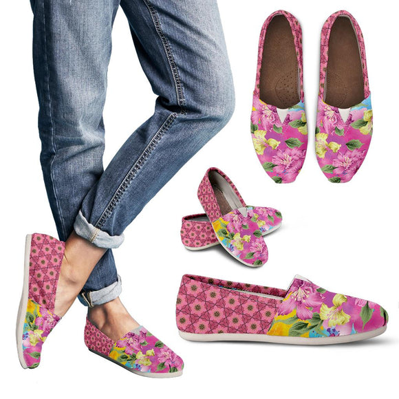 Pink Flowery Women's Casual Shoes