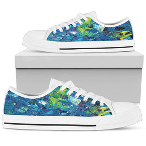Abstract Blue Oil Paintings Low Top Shoes