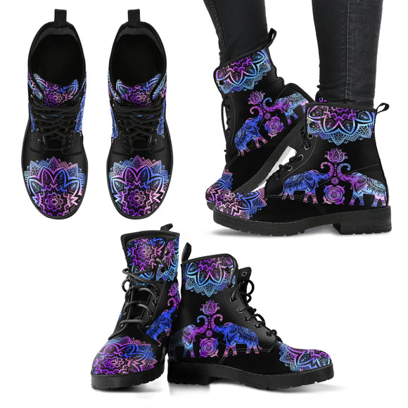 Purple Elephant Lotus Handcrafted Boots