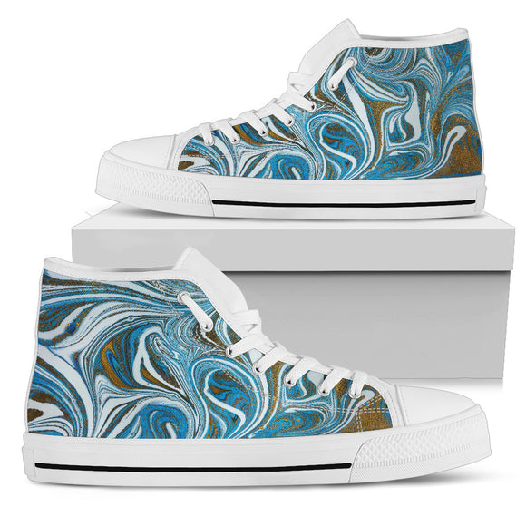 Blue Marble Dream Men's High Top Shoes