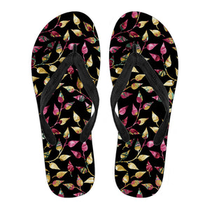 Beautiful Black Floral Leafs Women's Flip Flops