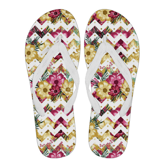 Beautiful Spring Yellow Chevron Flower Women's Flip Flops