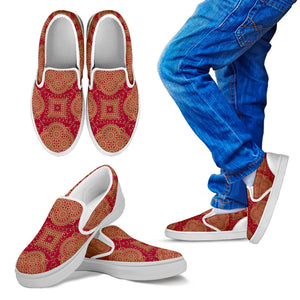 Royal Red Kid's Slip Ons