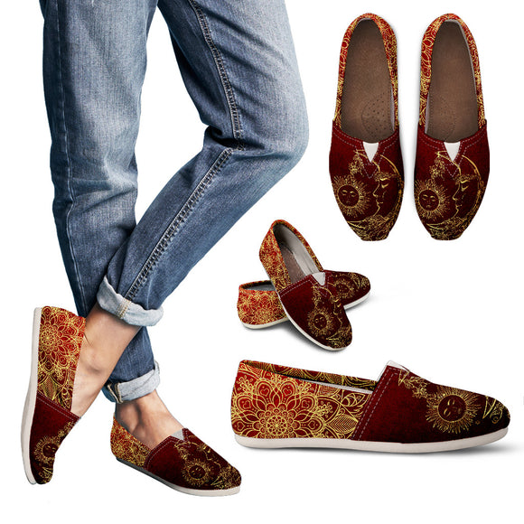 Red Sun And Moon Handcrafted Women's Casual Shoes