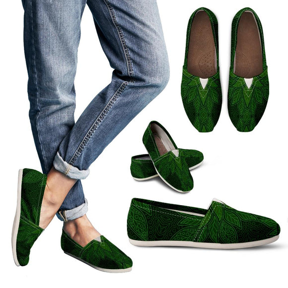Ornamental Magical Green Women's Casual Shoes