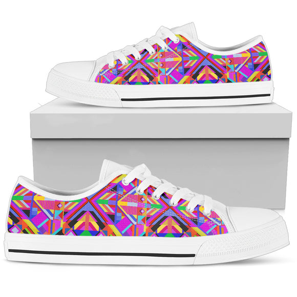 Pink Eye White Women's Low Top Shoes