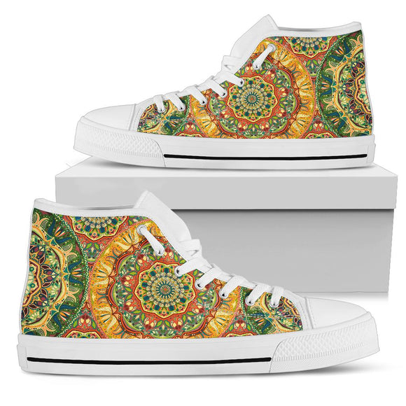 Yellow & Green Style Mandala 2 High Top Shoe