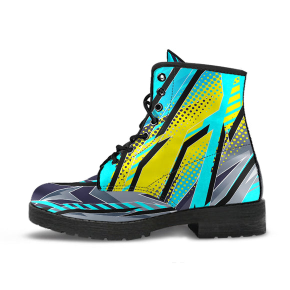 Racing Style Light Blue & Yellow Unisex Leather Boots