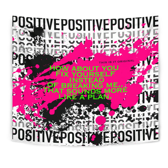 Fix Yourself quote and Black & Pink Positive Design Tapestry