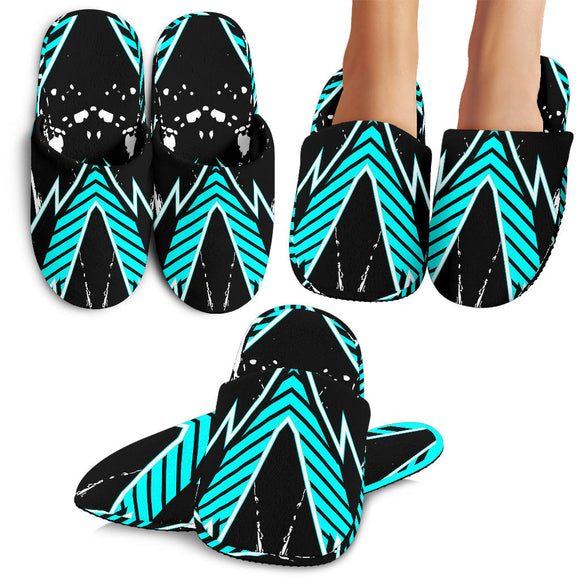 Racing Style Ice Blue & Black Stripes Vibes Slippers