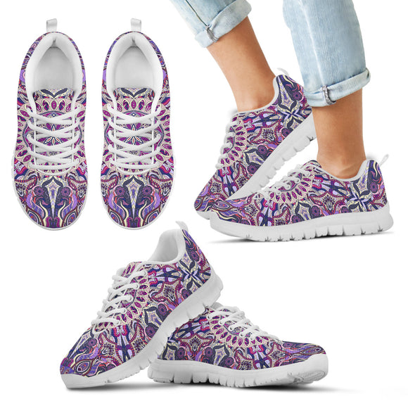 Ornamental Magical Purple Kid's Sneakers