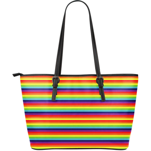 Rainbow Funny Stripes Large Leather Tote Bag