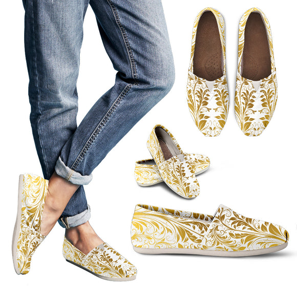 White And Gold Leafs Women's Casual Shoes