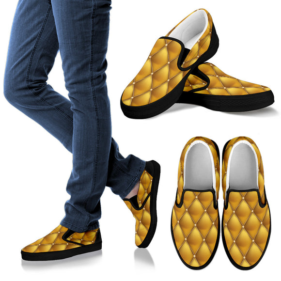 Exclusive Golden Pattern Women's Slip Ons