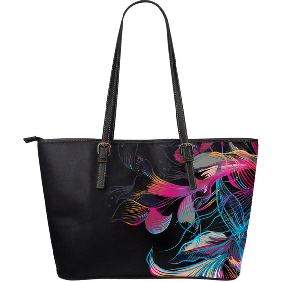 Anastacia Blue Flower Miracle Leather Tote Bag