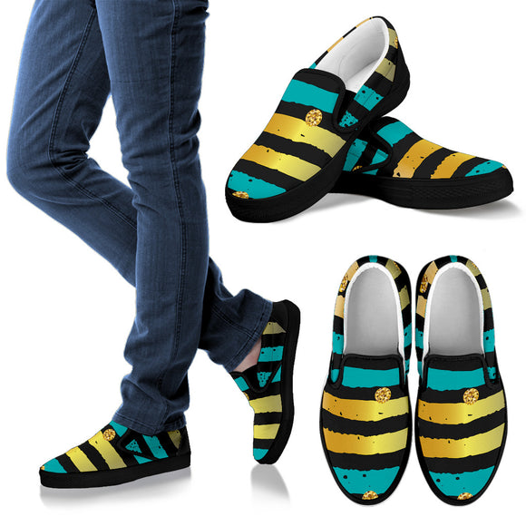 Luxury Neon Strips Women's Slip Ons