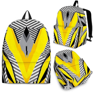Racing Style Grey & Yellow Stripes Vibes Backpack