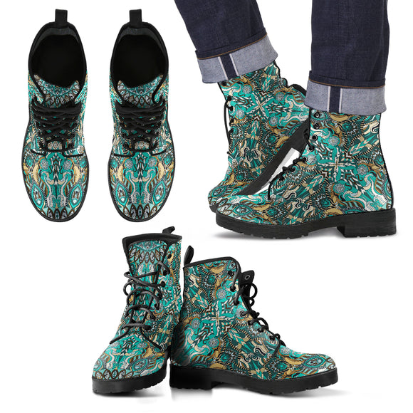 Ornamental Magical Green Dream Men's Leather Boots