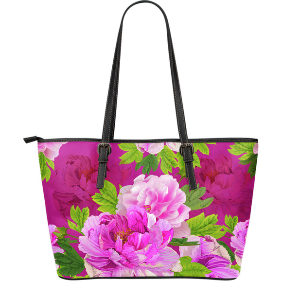 Pink Peony Lovers Large Leather Tote Bag