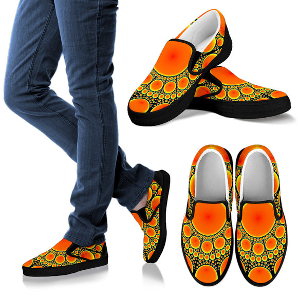 Neon Orange Sun Women's Slip Ons