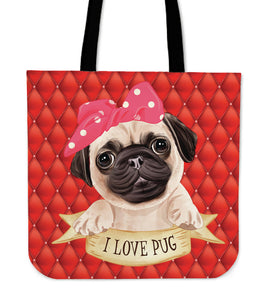 Cute I Love Pug Cloth Tote Bag