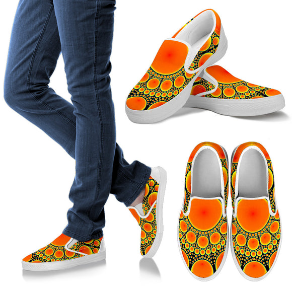Neon Orange Sun Men's Slip Ons