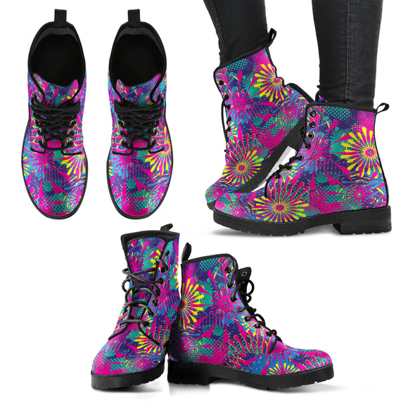 Abstract Pink Flower Handcrafted Boots
