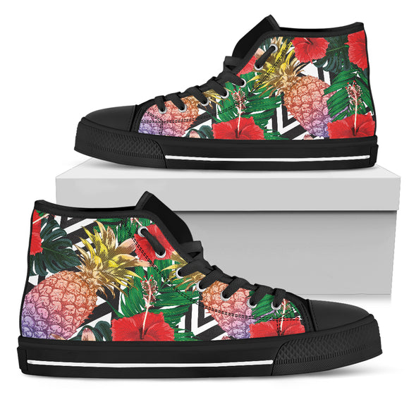 Summer Pineapple Love Men's High Top Shoes