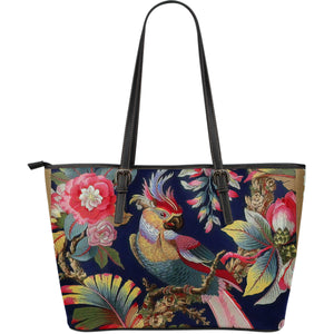 Romantic Flowery Parrot Leather Tote Bag