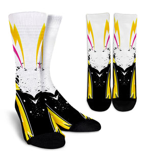 Racing Style White & Pink Stripes Vibes Crew Socks