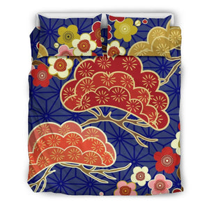 Japanese Blue Floral Bedding Set