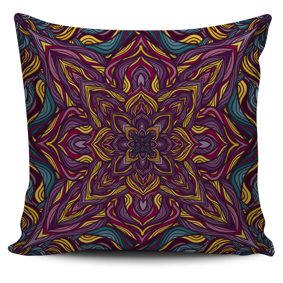 Dark Purple Mandala Style Pillow Cover