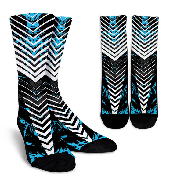 Racing Style Light Blue & White Stripes Vibes Crew Socks