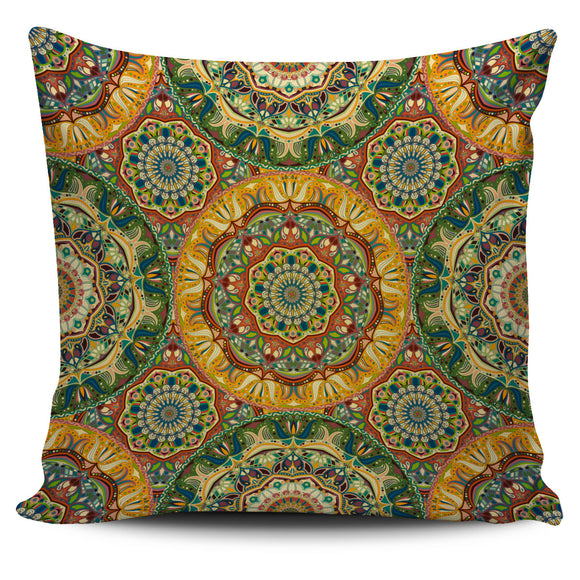 Yellow & Green Mandala Style Pillow Cover