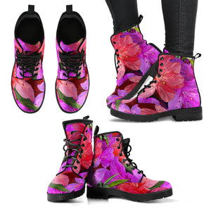 Beautiful Pink Flower Azalea Handcrafted Boots