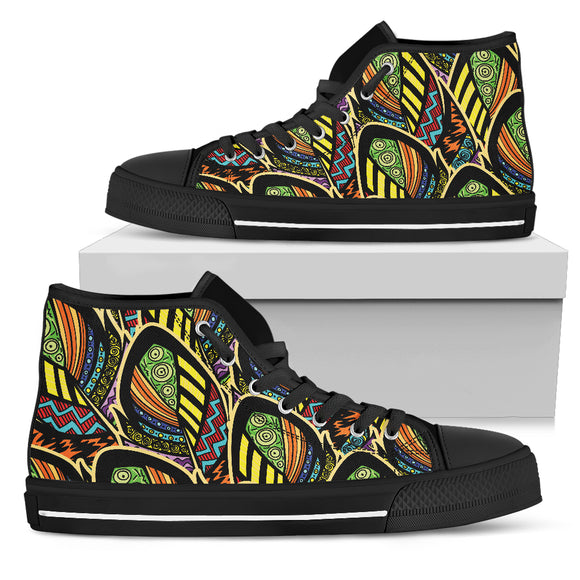 Ornamental Peacock Yellow Love Men's High Top Shoes