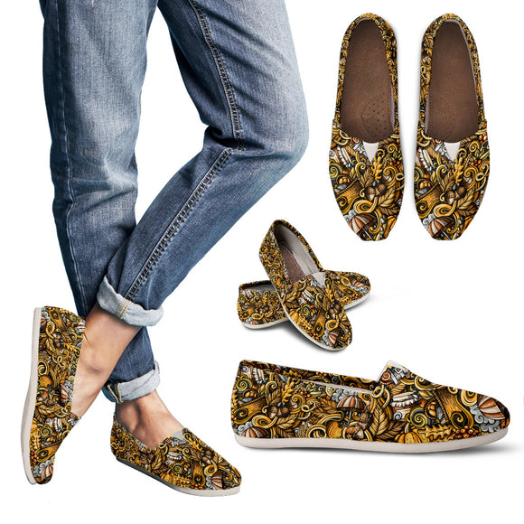 Yellow Abstract Hippie Bohemian Women's Casual Shoes
