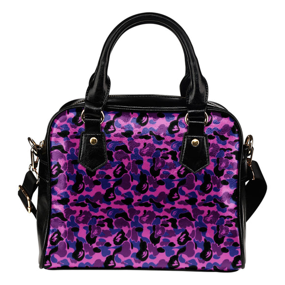 Sexy Purple Camouflage Leather Shoulder Handbag