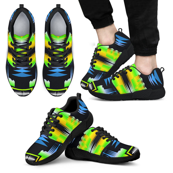 Neon Green Lights Of Free Spirit Men's Athletic Sneakers