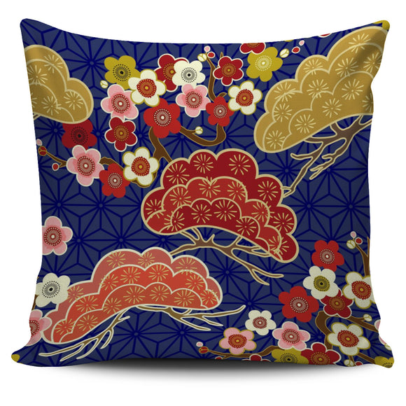 Japanese Blue Floral Pillow Cover