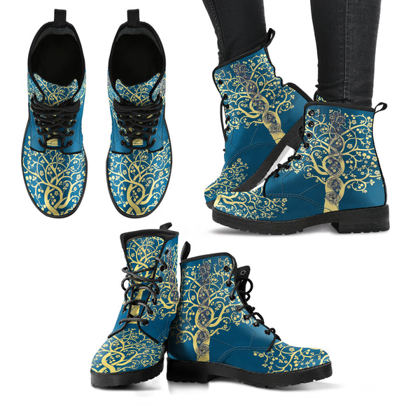 Chakra Turquoise Tree of Life Handcrafted Boots