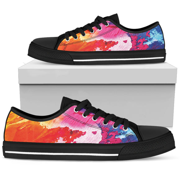 Abstract Dark Pink Oil Paintings Low Top Shoes