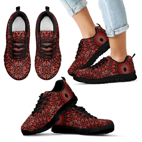 Red Spiritual Mandala Kid's Sneakers