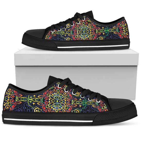 Glowing Rasta Mandala Women's Low Top Shoes