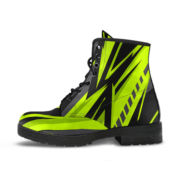 Racing Style Black & Neon Green 2 Unisex Leather Boots