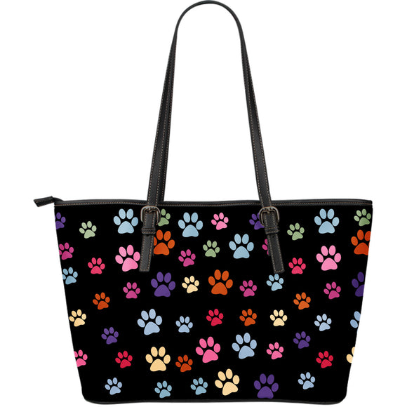 Mixed Lovely Paws Large Leather Tote Bag
