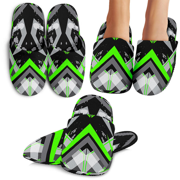 Racing Style Neon Green & Black Vibes Slippers